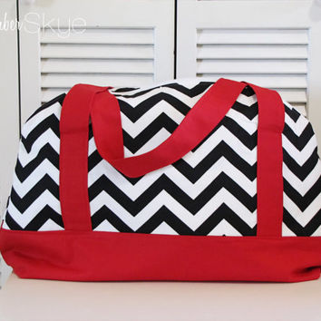Black and White Chevron with Red Accent Weekender Bag - Overnight Bag - Travel Bag - Weekend Bag - Diaper Bag