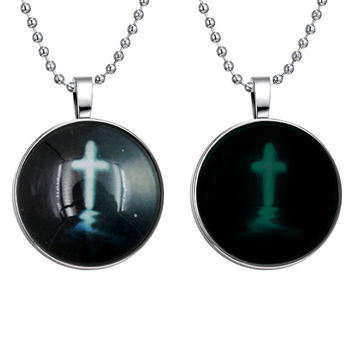 New Arrival Gift Shiny Stylish Jewelry Accessory Punk Style Cross Rack Pendant Gemstone Noctilucent Necklace [8026179015]