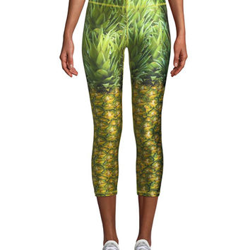 Terez Pineapple Printed Capri Performance Leggings