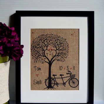 Personalized Tandem Bicycle Burlap Print - Bicycle Wedding - Wedding Date - Heart Tree - Wedding Gift - Burlap Print - Wedding Tree