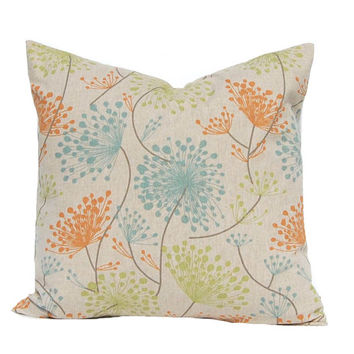 Pillow Covers, Fall Pillow Covers, Linen Pillows, Throw Pillow Covers, Decorative Pillow Covers, Orange Pillows, Orange Aqua, Sofa Pillows