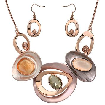 Abstract Rounds Statement Necklace in Rose Gold