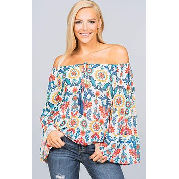 Bell Sleeved Colorful Printed Top