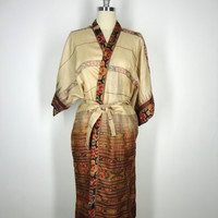 Silk Robe Kimono / Hand Made / Vintage Indian Paitola Ikat Sari / Tan Brown Floral Print / Limited Edition