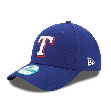 Mens Texas Rangers New Era MLB Home Blue Button The League 9FORTY Adjustable Cap
