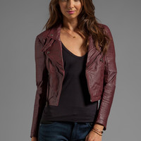 Capulet Cropped Leather Moto Jacket in Oxblood from REVOLVEclothing.com