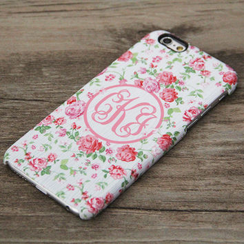 Monogram Bridesmaid Pink Floral iPhone 6 Case,iPhone 6 Plus Case,iPhone 5s Case,iPhone 5C Case,Samsung Galaxy S5/S4/S3/Note 3/Note 2 Case