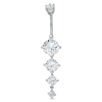 014 Gauge Cubic Zirconia Dangle Belly Button Ring in Stainless Steel - - View All - PAGODA.COM