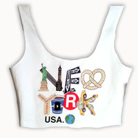 New York Theme Summer Crop Top