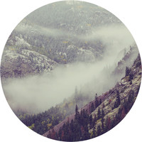 Mountain Side Fog Circle Wall Decal