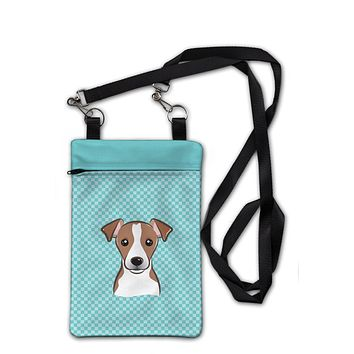 Checkerboard Blue Jack Russell Terrier Crossbody Bag Purse BB1198OBDY