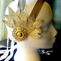 Metropolis - Fritz Lang inspired Tribal Fusion Belly Dance Headpiece. Gold Fantasy Sci Fi Headdress.