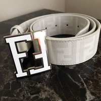 White Fendi Belt