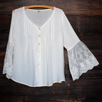 crochet lace bell sleeves button up top - white