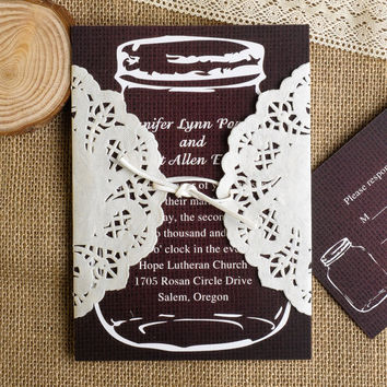 Elegant Dark Brown Mason Jars Ivory Lace Pocket Wedding Invitation EWLS007