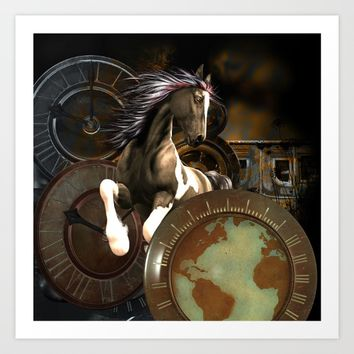 Steampunk, awesome horse  Art Print by nicky2342