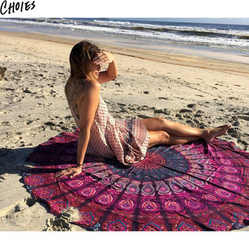 Women 3 Colors Tribal Print Vintage Round Beach Scarf Multiple Use Pashmina 2016 New Brand Fashion Casual Shawls And Scarves