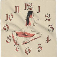 Adult series, 24x24 bandana, kerchief - It's time for nude yoga! Sexy dark haired girl scarf design in beige and red