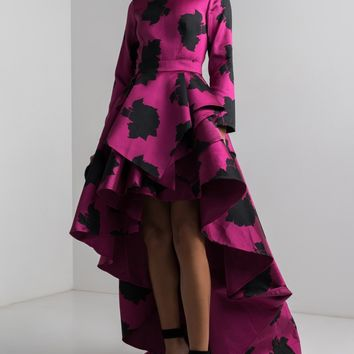 AMMO X AKIRA High Neck Hi Lo Long Sleeve Tiered Maxi Printed Dress in Magenta Black