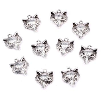 20 Pieces Wise Courage Wolf Head Charms Findings for Jewelry Pendants Necklace Making 17mm X 16mm