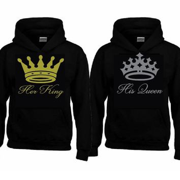 Her KING - His QUEEN Hoodies + Your NAMES on the back or any text
