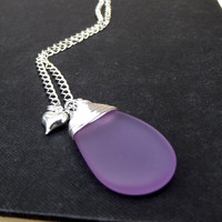 Purple Sea Glass Necklace: Fine Silver Wire Wrapped Lavender Beach Wedding Jewelry, Radiant Orchid Bridal Heart Charm Necklace