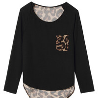 Black Leopard  Blouse
