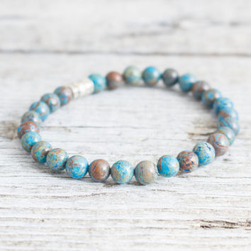 Blue crazy lace agate beaded stretchy bracelet, made to order yoga bracelet, mens bracelet, womens bracelet
