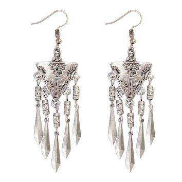 Unique Design Tibetan Silver Alloy Fashion Drop Earring Triangle Arrowhead Tassels Hook Long Earrings For Women Girls Jewelry
