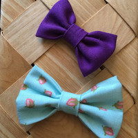 Strawberry and Purple Baby Hair Bows - Set of 2