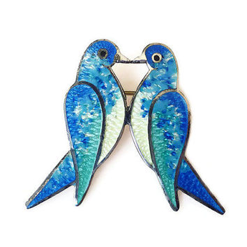 Taxco Sterling Brooch JF Jeronimo Fuentes Jose Federico Lovebirds Enamel Mexico Silver Vintage Jewelry