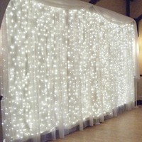 MZD8391 Fairy Curtain Lights, 9.8ft×9.8ft 304 led 8 Modes 24V Low Voltage Window Icicle Fairy Lights for Home, Garden, Wedding, Party, Photo Booth