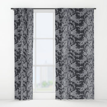 Black Floral Lace Window Curtains by Paula Oliveira