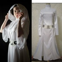 Free Shipping STAR WARS Alderaan Princess Leia Organa Solo Dress Belt Costume kids girls Cosplay Thin Dresses Halloween Costume
