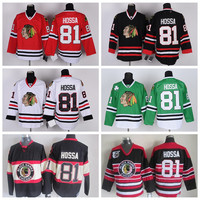 2017 Chicago Blackhawks Jerseys #81 Marian Hossa Jerseys Home Red Marian Hossa Hockey Jersey Green Winter Classic Throwback Black Stitched
