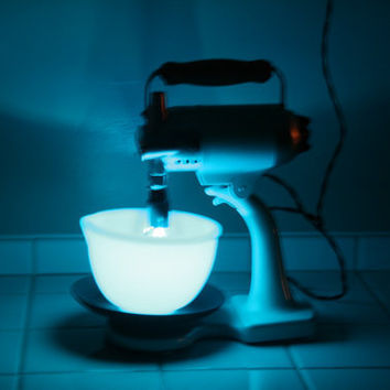 upcycled Vintage Sunbeam MixMaster Mixer Blue Blender Light - Retro Kitchen Lamp - Night Light