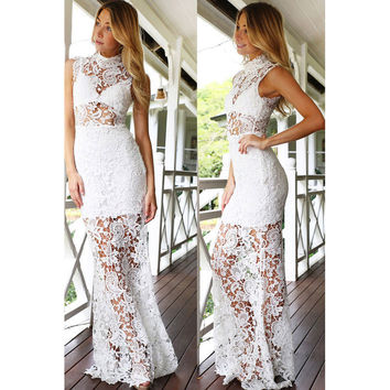 Women's Fashion Summer Sleeveless Round-neck Lace Hollow Out One Piece Dress [9344404868]