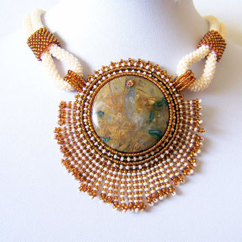 Statement Beadwork Bead Embroidery Pendant Necklace with Bamboo Agate - AMBER WHISPER - Creamy - brown