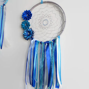 "10""  Blue Dreamcatcher, Large Dream Catcher, Unique Dreamcatcher, Nursery Mobile"