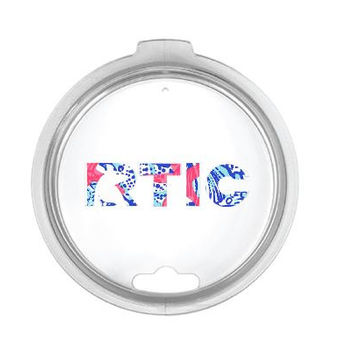 Lillly Pulitzer Inspired RTIC Lid Decal Yeti Logo for 30oz - Pattern - Lilly - Yeti Dupe - Lid Letters - Base Letters - Logo Cover - Custom