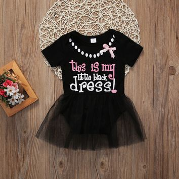 2018 New Lace Flower Girl Kid Baby Crew Neck Princess Pageant Tutu Black Short Sleeve Dress 0-24M