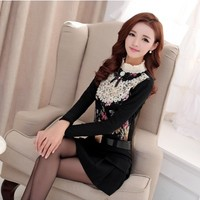 Women : Lace Top With Crocheted Mandarin Collar YRB0594