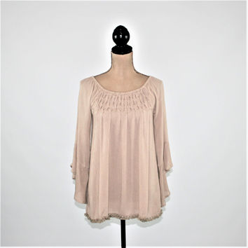 Beige Peasant Blouse Loose Fitting Top Bell Sleeve Hippie Boho Clothing Hippie Clothes Peasant Top Boho Top Hippie Top New Womens Clothing