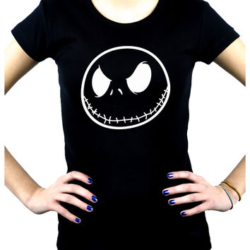 Negative Jack Skellington Face Women's Babydoll Shirt Nightmare Before Christmas