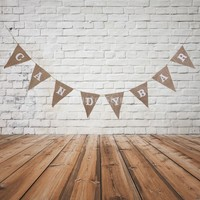 CANDY BAR Hessian Bunting Banner Pennant Rustic Wedding Decor 8 Flags