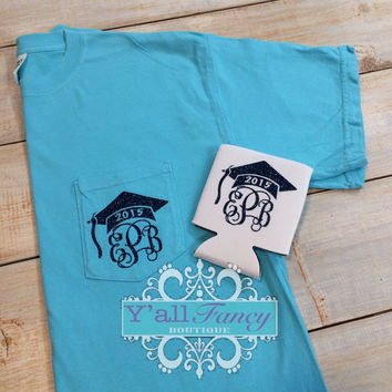 Monogrammed GRADUATION Comfort Colors Pocket Tee - Y'all Fancy