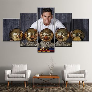 HD print 5 pcs canvas painting messi Golden Globe Award modern home decor wall art picture living room Football Sports Poster