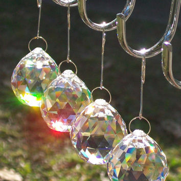 4 pcs Crystal Ball Rainbow Suncatcher, Light Catcher, Feng Shui Crystal Ball, Chandelier Crystal Ball, Crystal Suncatcher, Hanging Prisms