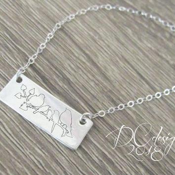 Bird Necklace, Bird Jewelry, Sterling Silver Jewelry, Gift for Her, Gift for Mom, Personalized Gift, Silver Bar Necklace, Christmas Gift