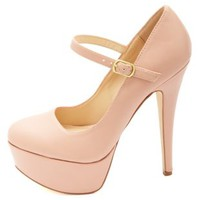 Anne Michelle Mary Jane Platform Pumps by Charlotte Russe - Rose